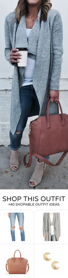 #spring #fashion / Grey Cardigan / Brown Leather Tote Bag / Grey Open Toe / Ripped Skinny Jeans