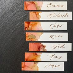 Thin place cards with guests' first names and orange + gold watercolor details. … Thin place cards with guests' first names and watercolor details in orange and gold. Gold Watercolor, Watercolor Cards, Watercolor Wedding, Wedding Stationary, Wedding Invitations, Wedding Favors, Wedding Decorations, Diy Place Cards, Wedding Name Cards