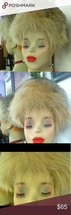 """Vintage Fox Hat Couturier Frank Olive Sexy natural fluffy fox hat from the 60's by Frank Olive.. this label is his Couturier division. The hat is for a smaller head, natch, as it is vintage. The front is designed with longer fur to sweep to either side, fluff up or down. Only defect is a 1"""" hole on the side/back portion: the hole is in the skin/hide. I guarantee you will not see it, as the fur is so dense and fluffy that it is covered over. No odors. Gorgeous Vintage  Accessories Hats"""