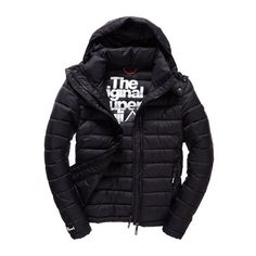 Superdry Fuji Double Zip Hooded Jacket ($105) ❤ liked on Polyvore featuring men's fashion, men's clothing, men's outerwear, men's jackets, men, black, mens jackets, superdry mens jacket, mens quilted jacket and mens hooded jackets