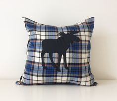 """Moose Silhouette Pillow Cover, 16x16"""", Flannel Plaid Modern Cushion Cover, Rustic Chic Cottage Decor, Canadian Elk, Blues, White, Black by BlackcatmeowDesigns on Etsy"""