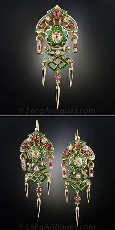 French Diamond, Ruby and Enamel Suite, Circa 1880's. An exquisite antique pin/pendant and earring ensemble of a distinctly French flavor with an oriental influence. Vivid green guilloche enamel contrasts with old mine cut diamonds and rubies set in butter cup rosettes. For added interest the dagger shape dangles are accented in black enamel