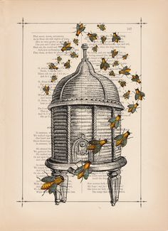 Vintage Art Print, on Etsy, BiloxiHousewife.  Very cool bee-print!