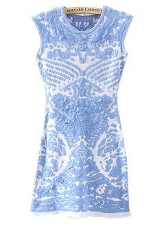 Blue Sleeveless Porcelain Pattern Knit Dress - Sheinside.com