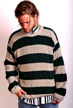 VINTAGE TOMMY HIL23FIGER CREST WIDE STRIPE KNIT SPORTSMAN SWEATER $49