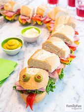 Sea Monster Sub: Feed a crowd with this supersize sandwich that kids can help pr. - kids snacks Sea Monster Sub: Feed a crowd with this supersize sandwich that kids can help pr… Food Art For Kids, Cooking With Kids, Party Food For Kids, Children Cooking, Kids Cooking Recipes, Cooking Food, Baby Food Recipes, Healthy Recipes, Sandwich Recipes