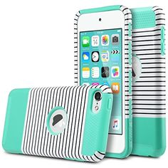 ULAK [Colorful Series] 2-Piece Style Hybrid Shockproof Hard Case Cover for Apple iPod touch 5 6th Generation (Black & white stripes+Mint Green) ULAK http://www.amazon.com/dp/B017D00ONM/ref=cm_sw_r_pi_dp_.4.vwb14FAM78