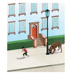 Illustration: woman pulling large dog down street Real Simple