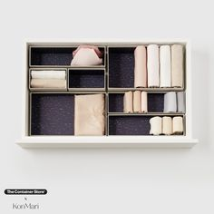 Part of our exclusive collection of sustainable products designed by Marie Kondo, these recyclable Hikidashi boxes make perfect homes for your cherished items. Designed by Marie to defeat clutter once and for all, this set of eight organizers will help keep your belongings neat and tidy. Grey Drawers, Small Drawers, Craft Storage, Storage Boxes, Sustainable Design, Sustainable Products, T Shirt Folding, Closet Organizer With Drawers, Sweater Storage