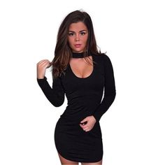 Long Sleeve Choker Neck Mini Dress