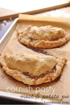 "Cornish Pasty - Not really using the recipe here, but they look like ""our"" recipe and I want to remember to use the parchment paper on my next batch. Tired of scrubbing cookie sheets and still having stains."