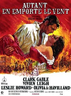 Gone With the Wind starring Clark Gable, Vivien Leigh, Olivia de Havilland, and Thomas Mitchell; directed by George Cukor and Victor Fleming Rhett Butler, Margaret Mitchell, Scarlett O'hara, Vivien Leigh, Clark Gable, Old Movies, Vintage Movies, Great Movies, Vintage Posters