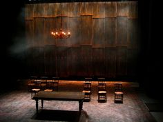 When I think of the scene where Keizuke is telling the villagers, I see a dim lit room room such as this with dark orange lighting. Design Set, Set Design Theatre, Prop Design, Stage Design, Film Inspiration, Design Inspiration, Stage Beauty, Design Research, Stage Set
