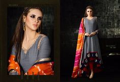 Grey and Red color Combination Party Wear Pure Cotton Silk Fabric Anarkali Style Suit