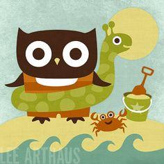 122R Retro Owl at the Beach 6 x 6 Print by leearthaus on Etsy, $15.00