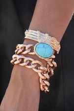 Turquoise Stone Cuff and rose gold chain