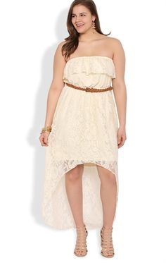 Fresh Plus Size Crochet Lace High Low Dress with Belted Waist