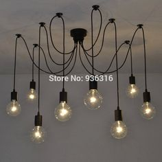 8 arm 1.5m/strip edison bulb Pendant Chandelier Modern Vintage Loft Bar Restaurant Bedrooms E27 Art Pendant industrial lamp #Affiliate