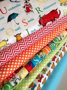 Dr Seuss Back to School ABC quilt or craft fabric bundle by Robert Kaufman Fabrics. 1/2 yard of each fabric shown, 7 total. Perfect for back to