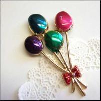 Balloon Pin Colorful Satin Metallic Gold Brooch Vintage Jewelry $35