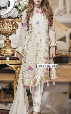 Off-white Chiffon Suit | Buy Maheen Kardar Pakistani Dresses and Clothing online in USA, UK