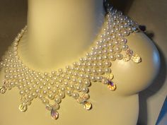 Braided Faux Pearl Beaded w/ Crystal Drop Collar by NOTABOUTNEED, $75.00