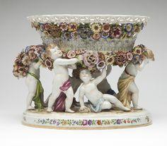 A Schierholz porcelain center bowl on stand