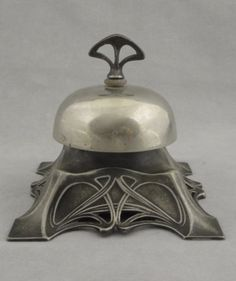 Antique-WMF-Germany-Art-Nouveau-Silver-plate-Mechanical-Desk-Bell-c-1900