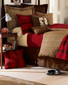 Plaid Bedding, Linen Bedding, Bed Linens, Custom Bedding, Bedroom Red, Bedroom Decor, Master Bedroom, Bedroom Ideas, Burgundy Bedroom