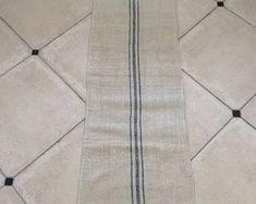 NS1701 Pale Blue Stripe Twill Natural Limestone Vintage Linen Grainsack
