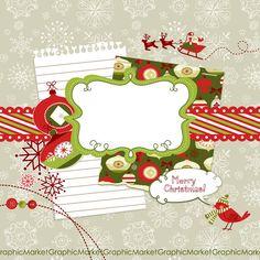 Christmas Digital Scrapbook Embellishments, Christmas Clip Art, Card Making, Scrapbooking, christmas ornaments, digital papers