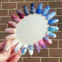 Diceños y uñas Manicure Gel, Diy Nails, Pedicure, Nail Art Arabesque, Nail Art Wheel, Nagellack Design, Stamping Nail Art, Pretty Nail Art, Powder Nails