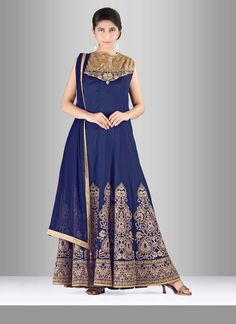 Make the heads turn after you costume up in this silk anarkali suit. You will…