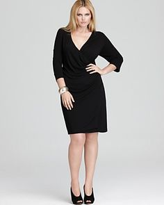 DKNYC Plus Size Three Quarter Sleeve Crossfront Dress With Side Pleated Gather