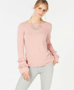 NWT CHARTER CLUB Pure Cashmere Double-Ruffle Sweater Pink S #CharterClub #Pullover #any