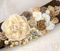 Sash- Bridal Sash with Chocolate Brown Dupioni Silk, Satin Flowers, Brooches, Jewels, Crystals and Pearls- Renee $170.00