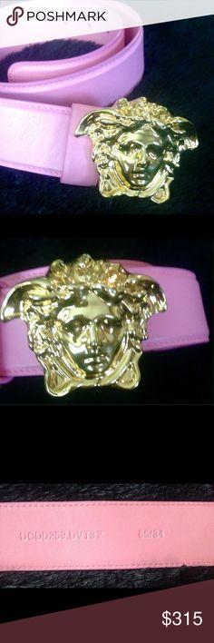 Pink Versace Belt Pink Versace Belt..Gold Medusa Head Buckle..85/34 Versace Accessories Belts