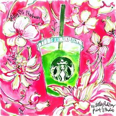 It's like she gets us. Melting over this Lily Pulitzer Starbucks pop-art! // Lizzy Malmone