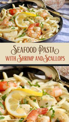 Scallop And Shrimp Pasta, Shrimp And Scallop Recipes, Shrimp Recipes For Dinner, Shrimp Pasta Recipes, Seafood Recipes, Healthy Scallop Recipes, Shellfish Recipes, Fish Dinner, Seafood Dinner