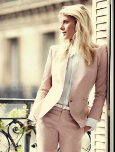 So Fresh and So Clean | Pink Preppy Suit with Crisp White Shirt and Messy Hair
