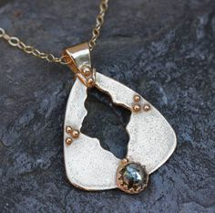 Pyrite and bronze artifact pendant classic by KathrynDesignsArt, $70.00