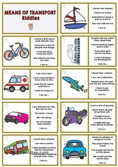 Once you have printed and cut the pieces from this page, children have to play dominoe guessing the type of transport which is described in one side. Thank you. Cha - ESL worksheets