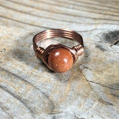 size 8.25 - 8 1/4 - Goldstone Ring - antique #copper wire #wrapped - #glitter shi,  View more on the LINK: http://www.zeppy.io/product/gb/3/205465575/