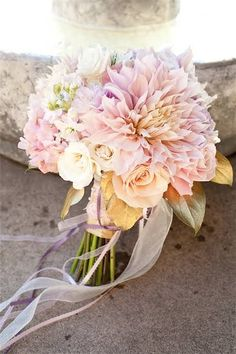 Pink dahlia bouquet - in season June through September! Big blooms = less flowers needed = save money!
