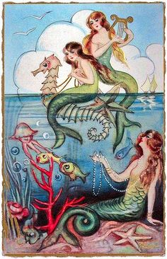 Whimsy mermaids and seahorse playing in the shallows...    #mermaids #seahorse #painting
