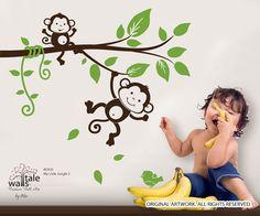 Wall's Tale Wall Decals - Turkey - Monkey wall decal, My little jungle monkeys wall decal for boy or girl nursery., $24.00 (http://www.wallstale.com/monkey-wall-decal-jungle-monkeys-wall-decal-for-boy-or-girl-nursery/)