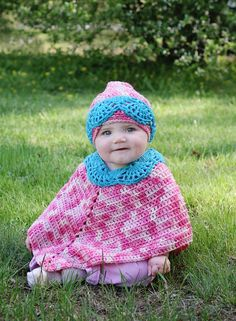 Baby Poncho and Hat pdf 743 by SandysCapeCodOrig on Etsy