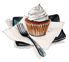Long Blue Straw – Page 21 – Illustrations by Tracy Hetzel Cupcake Illustration, Cupcake Kunst, Cupcake Torte, Desserts Drawing, Food Art Painting, Sweet Drawings, Cupcake Drawing, Food Sketch, Watercolor Food