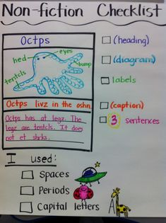 Non-fiction writing checklist.this would help Prep, Grade One students to write a non-fiction paper that includes text features! Kindergarten Writing, Teaching Writing, Writing Activities, Writing Resources, Informative Writing Kindergarten, Library Activities, Teaching Career, Educational Activities, Writing Checklist