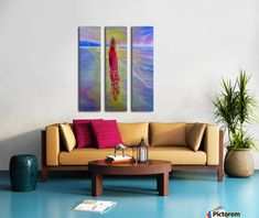 Paradise Sunset Textured Triptych by Studio 212 3 Piece Painting Print on Canvas Set Canvas Art Prints, Painting Prints, Canvas Wall Art, Oil Paintings, Abstract Paintings, 3 Piece Painting, Art For Sale Online, Colourful Living Room, Fancy Houses